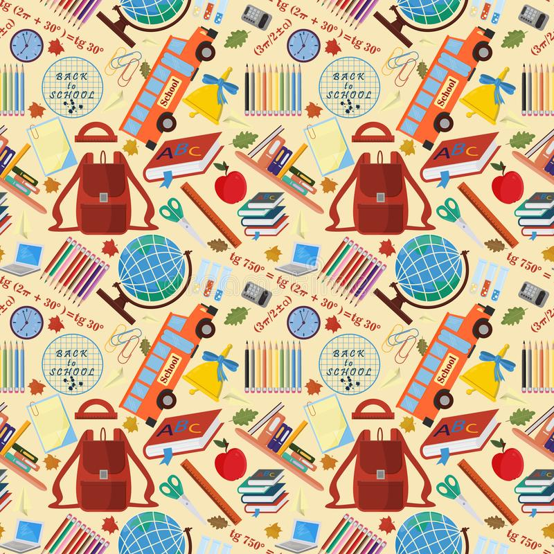 Seamless pattern_6_on a school theme, the Association for educational institutions, the background is isolated. Vector seamless pattern on a school theme, the stock illustration