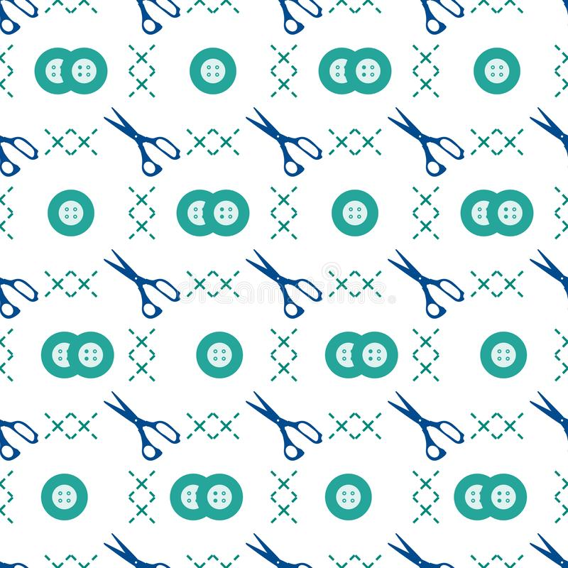 Seamless pattern with scissors and buttons. Sewing and needlework background. Template for design, fabric, print stock illustration