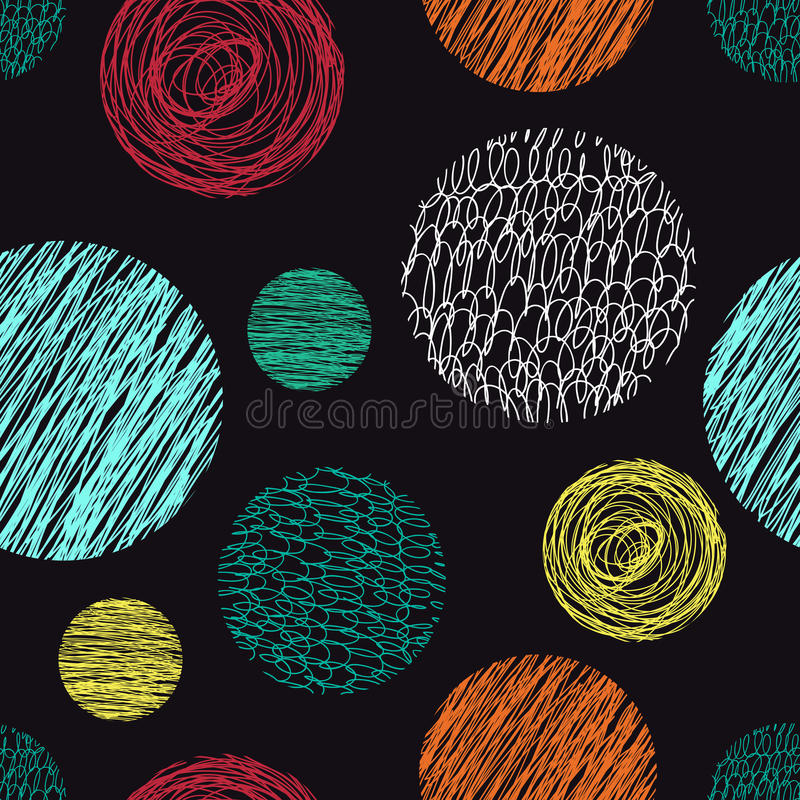 Seamless pattern with scribbles circles. stock images