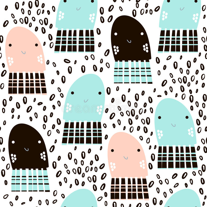 Seamless pattern with sea animal jelly fish, fish. Undersea Childish texture for fabric, textile. Vector background vector illustration
