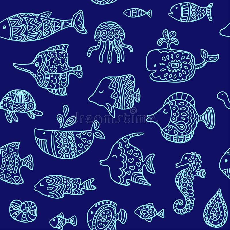 Seamless pattern with sea creatures. Endless texture can be used for printing onto fabric, paper or scrap booking, wallpaper, pattern fills, web page vector illustration
