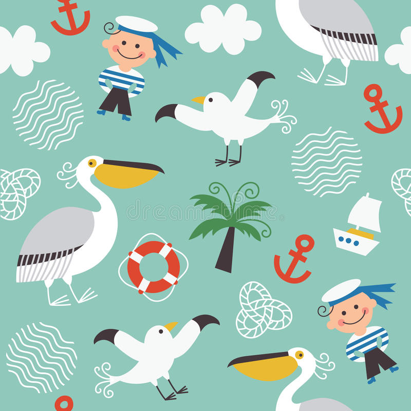 Seamless pattern with sea elements royalty free illustration