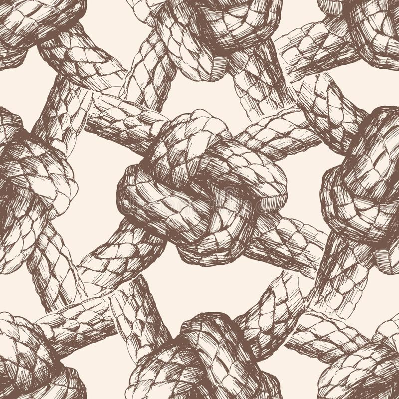 Seamless pattern of sea knots from rigging rope vector illustration