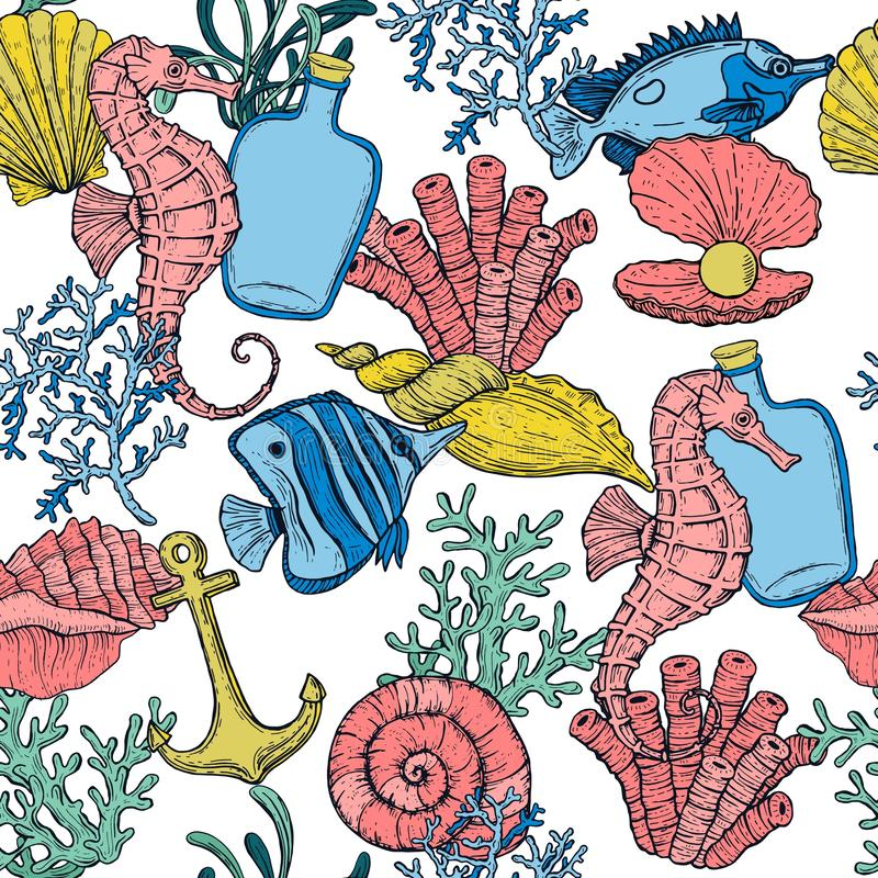 Seamless pattern. Sea shell, seaweed, anchor, bottle, seahorse, and fish. Hand drawn underwater creatures. royalty free illustration