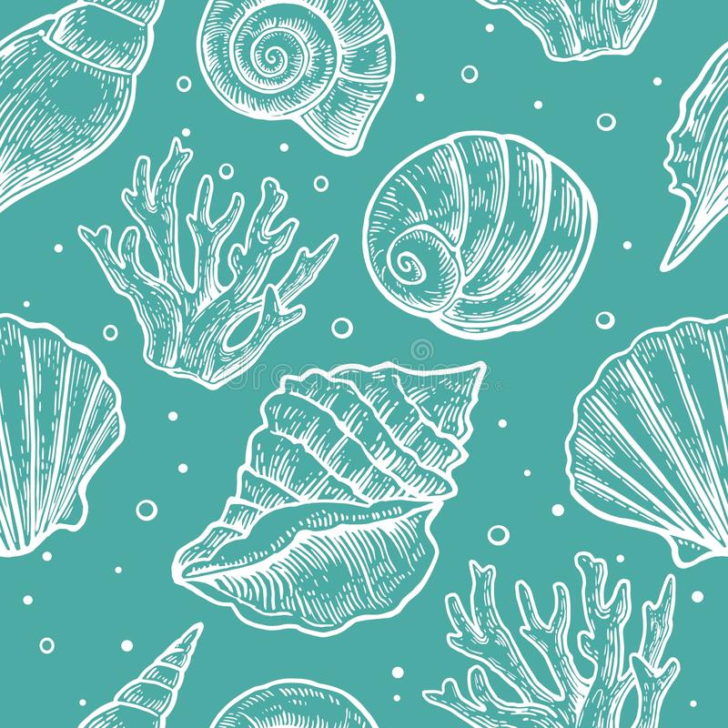 Seamless pattern sea shell. Vector engraving vintage illustrations.  stock illustration