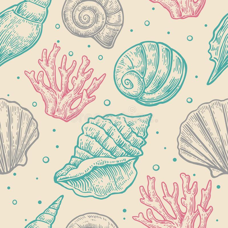 Seamless pattern sea shell. Vector engraving vintage illustrations. Isolated on gray background vector illustration