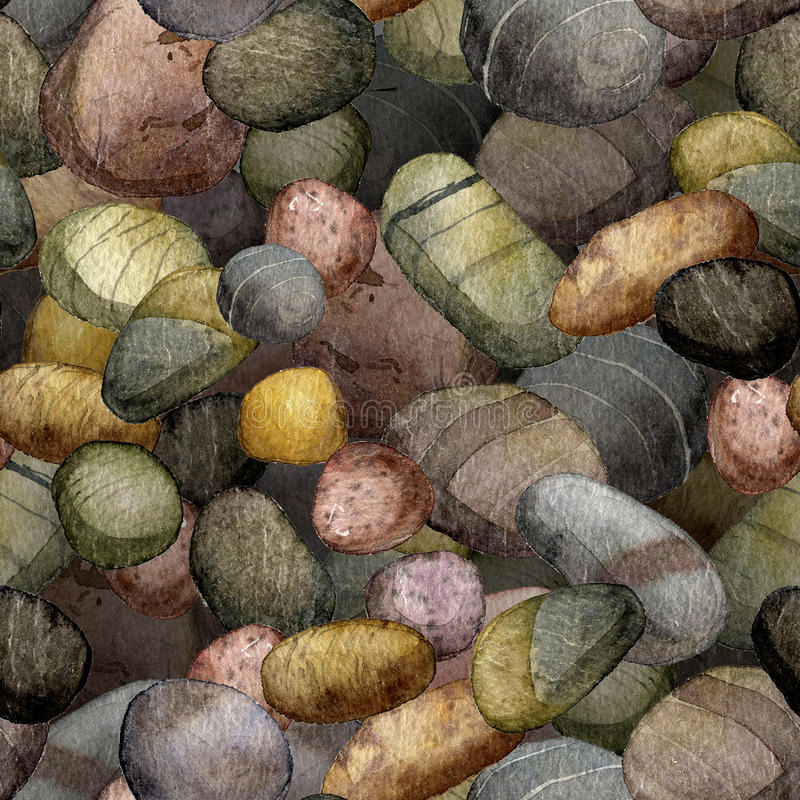 Seamless pattern with sea stones drawing in watercolor. Pebbles, hand drawn watercolor illustration stock illustration