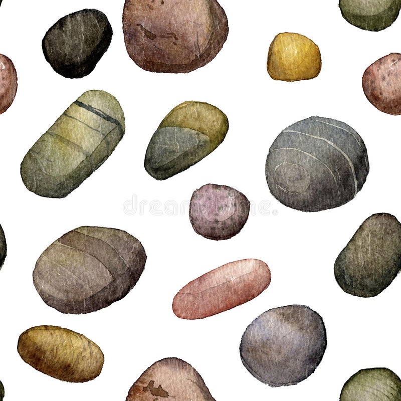 Seamless pattern with sea stones drawing in watercolor stock illustration