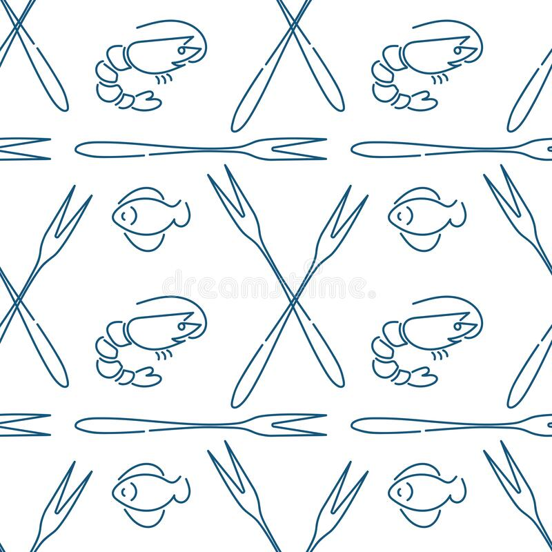 Seamless pattern , Seafood concept. Doodle fish , shrimps and seafood fork sketches. Space for your text. Vector background stock illustration