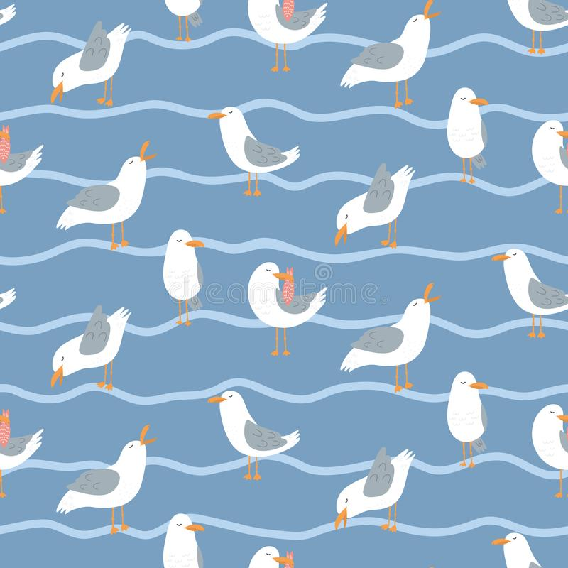 Seamless pattern with seagulls and waves. vector illustration
