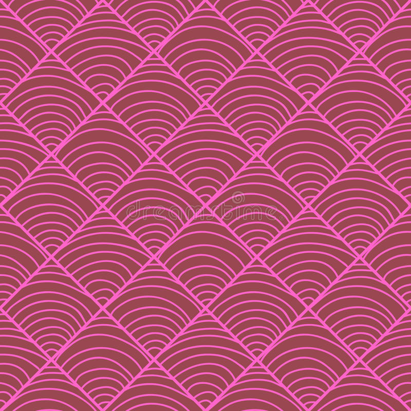 Seamless pattern with a semicircle. S in rhombus - pink pattern on a maroon background. Hand drawn vector stock illustration stock illustration