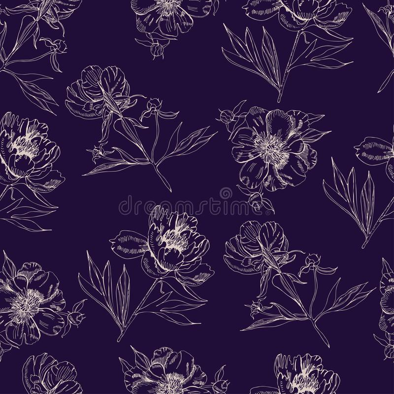 Seamless pattern  with sepia silhouettes of flowers of peony. Hand drawn ink and inverted sketch. Objects  on dark blue background stock illustration