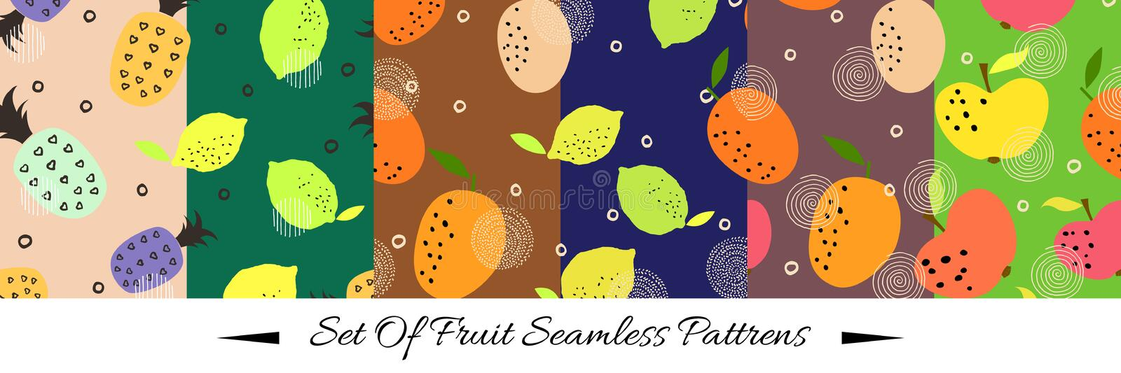 Seamless pattern set with citrus fruits collection. Fresh lemons, oranges, apples and pineapples background. Colorful wallpaper vector.  Decorative stock illustration