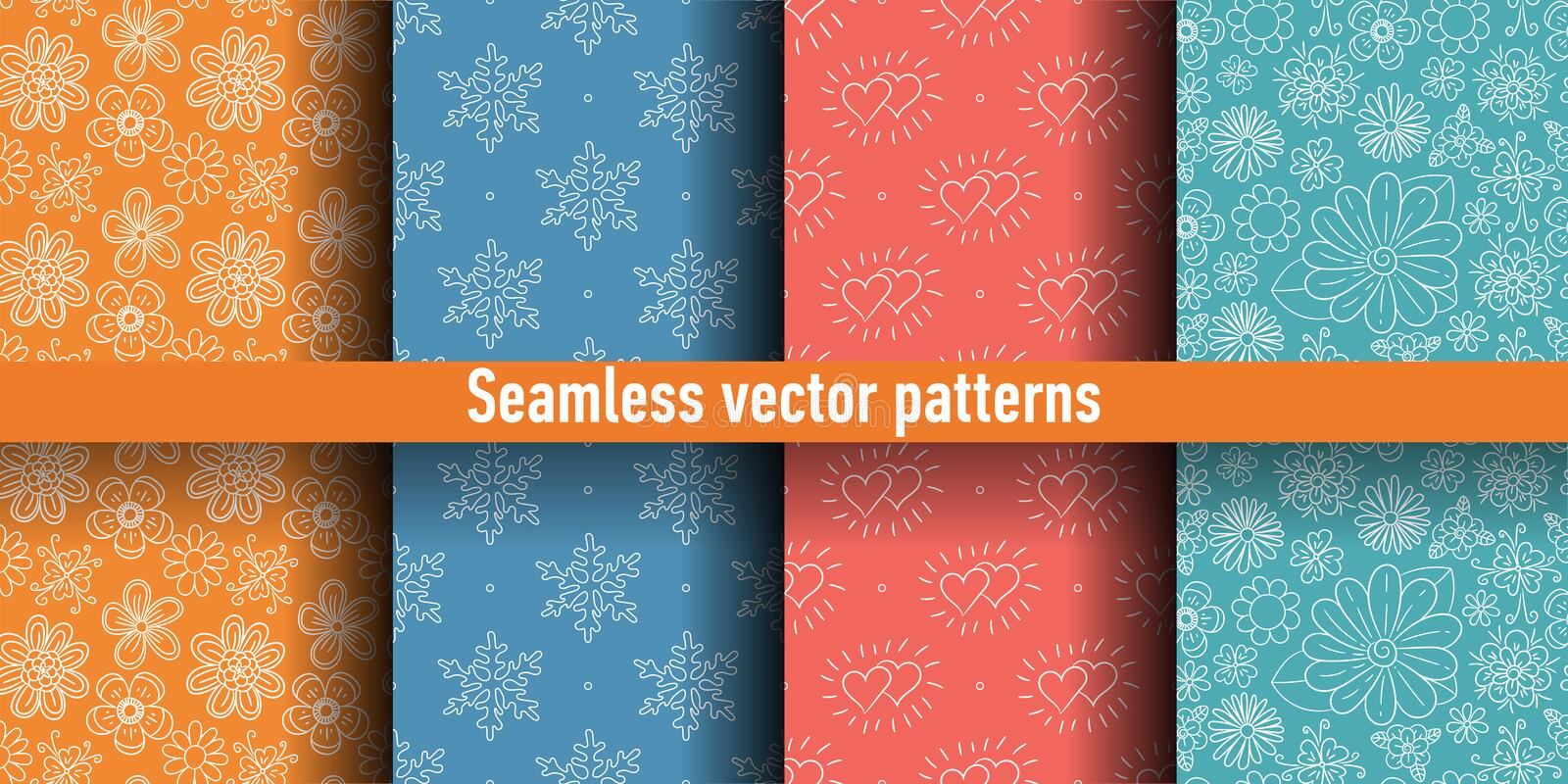 Seamless pattern set. Colorful vector background. Color flowers, snowflakes and hearts.  vector illustration