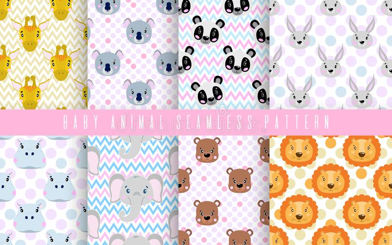 Seamless pattern set cute animal baby color. Happy collection for print textile fabric. Face lion,panda,rabbit, bear and other vector illustration
