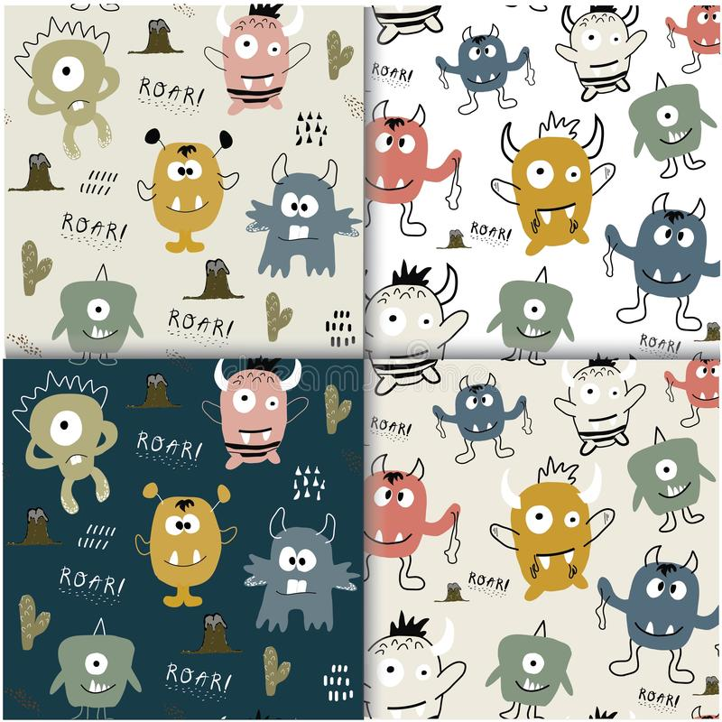 Seamless pattern set with cute monsters . childish vector illustration stock illustration