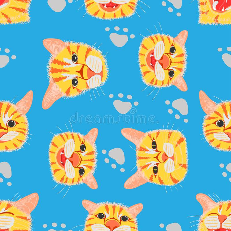 Seamless pattern set of different element cute cat head and footprint. vector illustration eps10. Seamless pattern set of different element cute cat head and stock illustration