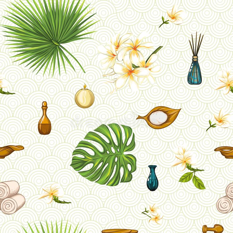Seamless pattern with a set of different items, needs for SPA or Thai massage royalty free illustration