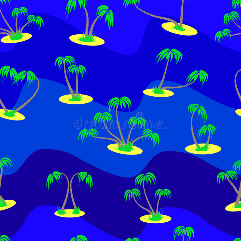 Seamless pattern from set of different palm trees on a blue back. Ground stock illustration