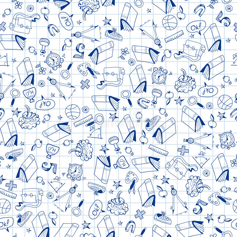 Seamless pattern with set of different school things royalty free illustration