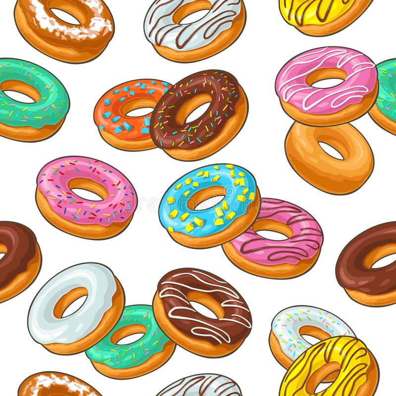 Seamless pattern set donut with different icing, glaze, stripes, sprinkles. vector illustration