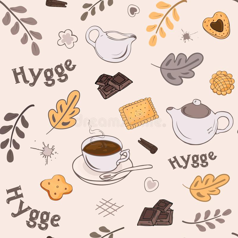 Seamless pattern with a set of elements in the Scandinavian style of hyggo with warm tea, pastries and autumn leaves vector illustration