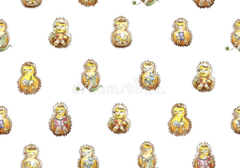 Seamless pattern set of a family of seven friendly hedgehogs who are having fun. Reading, knitting, eating, sleeping, playing, ca vector illustration