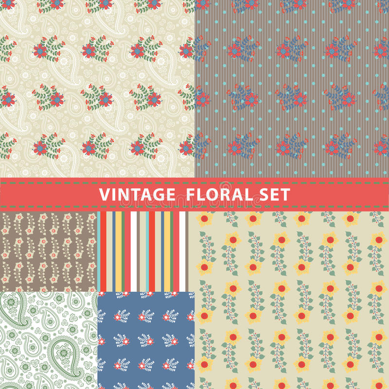 Seamless pattern set.Flowers, branches, berries,paisley,strips royalty free illustration