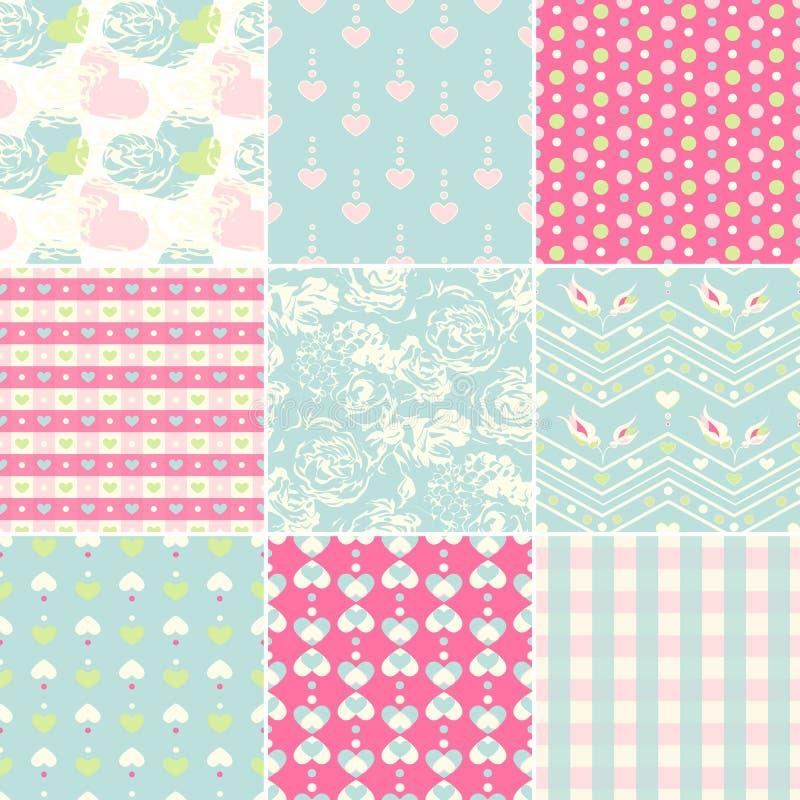 Seamless pattern set stock illustration