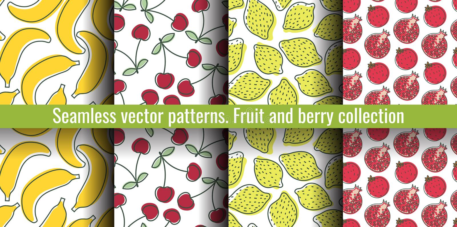 Seamless pattern set. Juicy fruit and berry collection. Banana, cherry, lemon, garnet. Hand drawn color vector sketch background. stock illustration