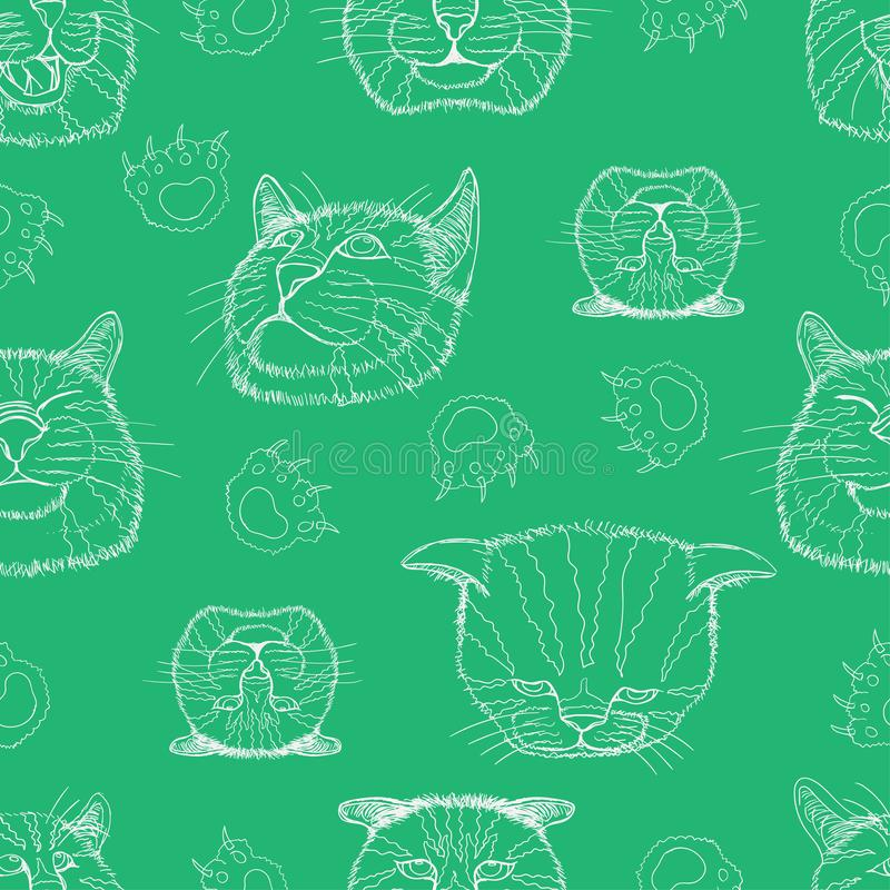 Seamless pattern set line sketch of different element cat head funny and cute emotion and footprint. vector illustration eps10. Seamless pattern set line sketch stock image