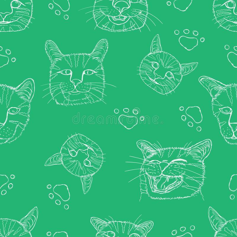 Seamless pattern set line sketch of different element cute cat head and footprint. vector illustration eps10. Seamless pattern set line sketch of different royalty free stock photography