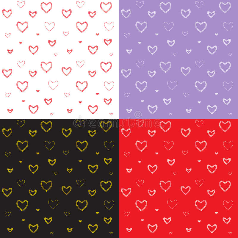 Seamless pattern set with mosaic valentine`s hearts. stock image