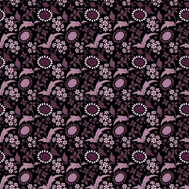 Seamless pattern with a set of stylized floral elements vector illustration