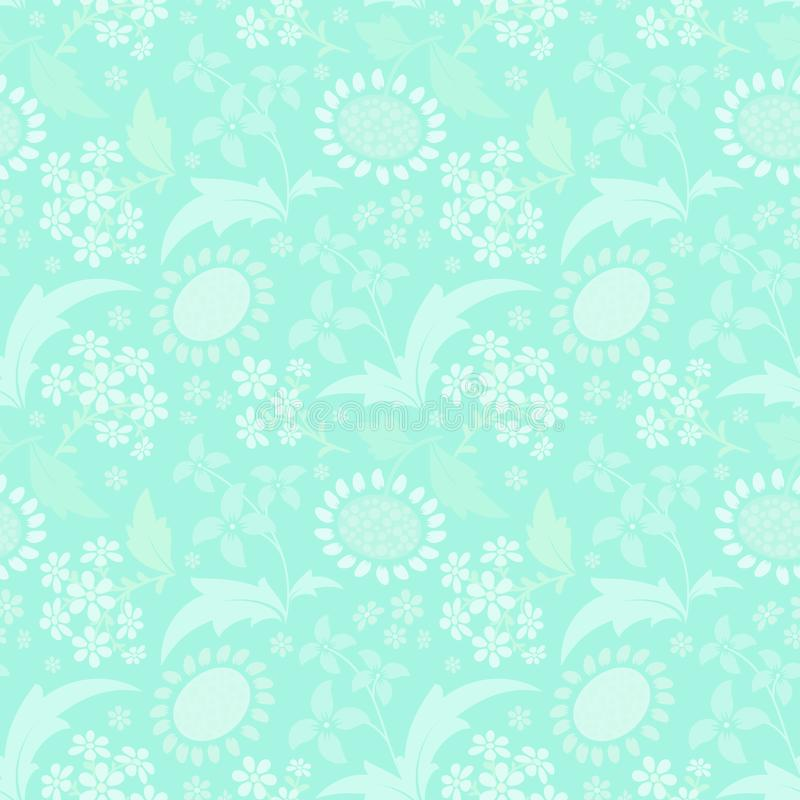 Seamless pattern with a set of stylized floral elements stock illustration