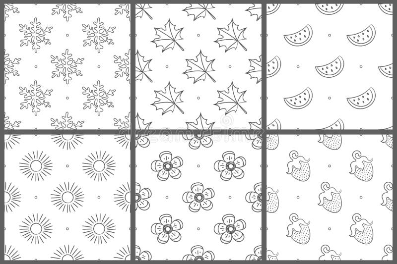 Seamless pattern set. White and black vector background. Snowflake, leaf, flower, watermelon; fruit; berry; strawberry; sun vector illustration