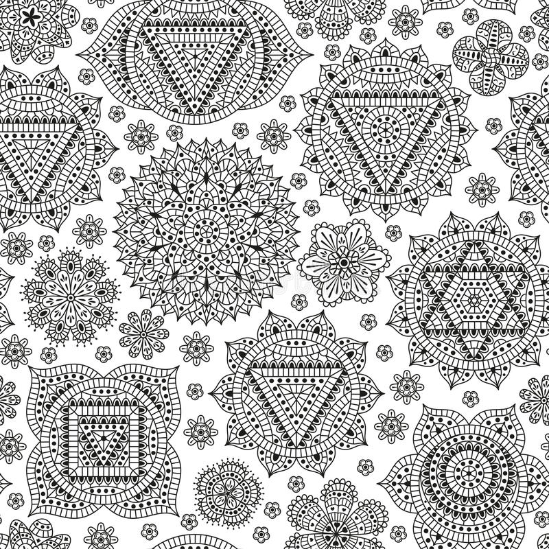 Seamless pattern with seven chakras. Oriental ornaments for henna tattoo and for your design. Buddhism decorative elements. Vector. Illustration stock illustration