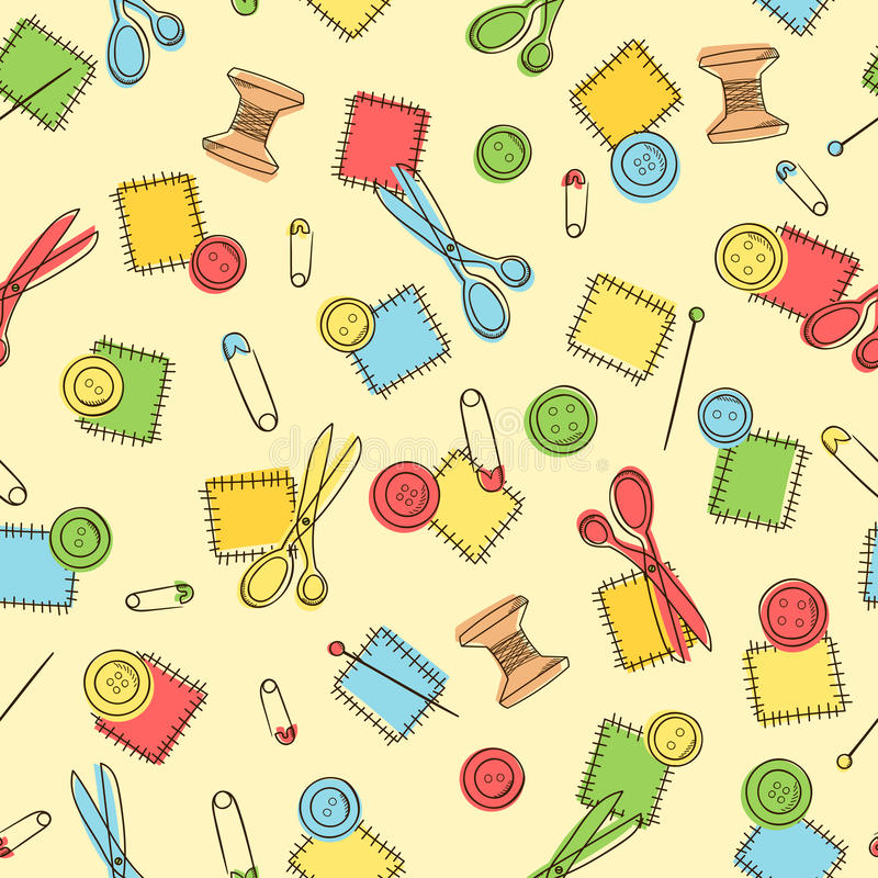Seamless pattern with sewing button, pin, patch, scissors. stock illustration