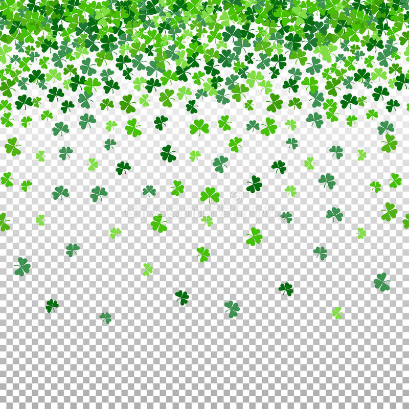 Seamless pattern with shamrock clover falling leaves on transparent background. vector illustration