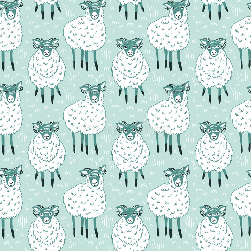 Seamless pattern with sheep on blue background. Vector cute fabric design. stock illustration