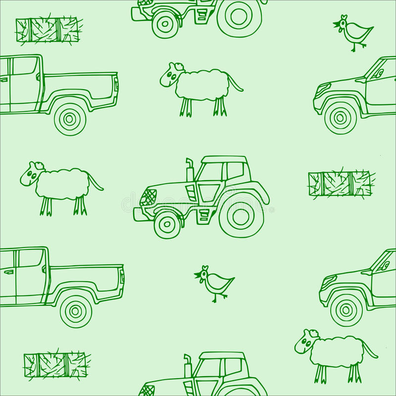 Seamless pattern with a sheep and a chicken and a hay bale and a tractor and a pickup in green. stock image