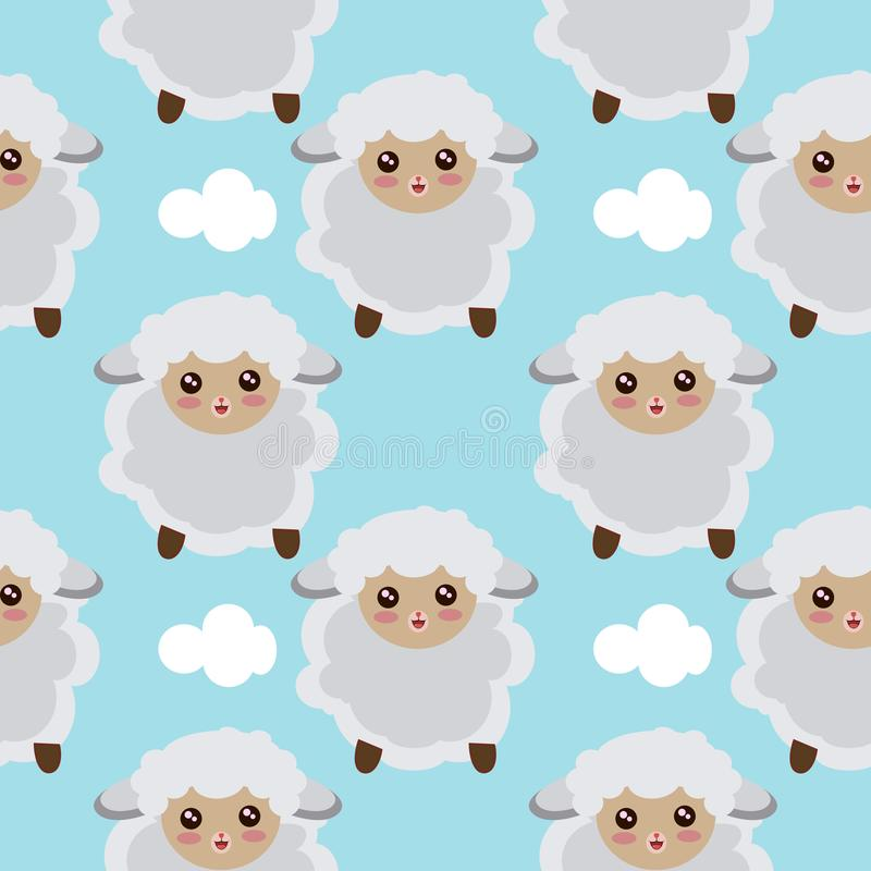 Seamless Pattern Of Sheep Flying In The Sky With Clouds. Illustration vector illustration