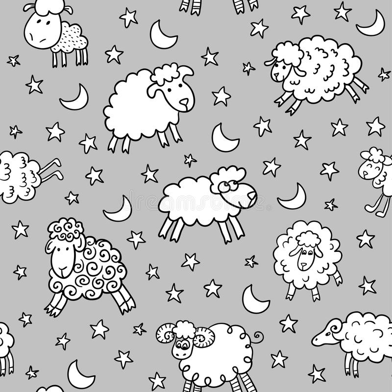 Seamless pattern with sheep in night. Endless texture can be used for printing onto fabric, paper or scrap booking, wallpaper, pattern fills, web page vector illustration