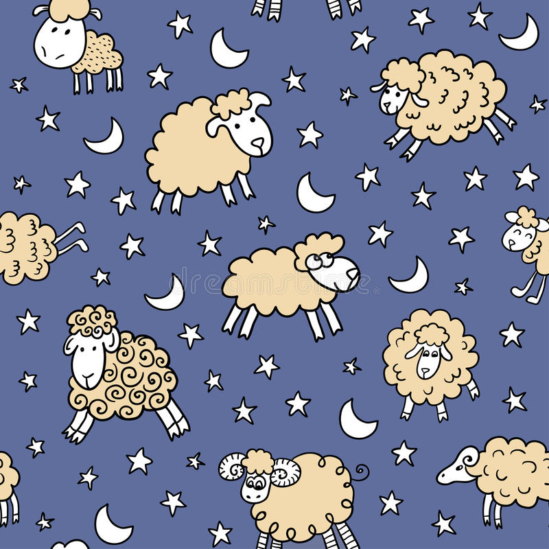 Download Seamless Pattern With Sheep In Night Stock Vector