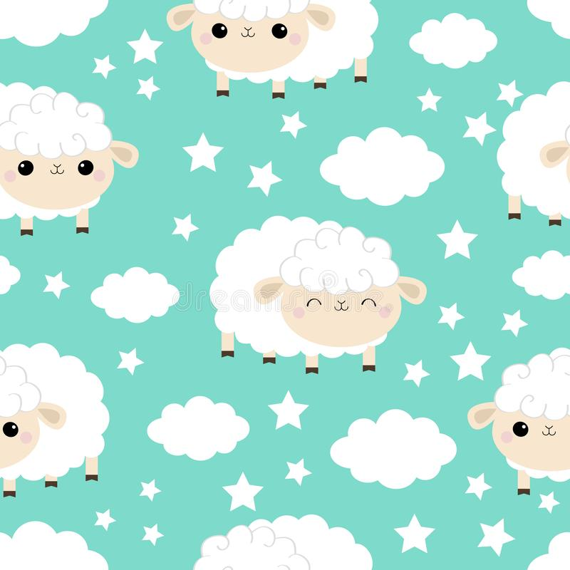 Seamless Pattern. Sheep sleeping eyes.. Cloud star in the sky. Cute cartoon kawaii funny smiling baby character. Wrapping paper, royalty free illustration