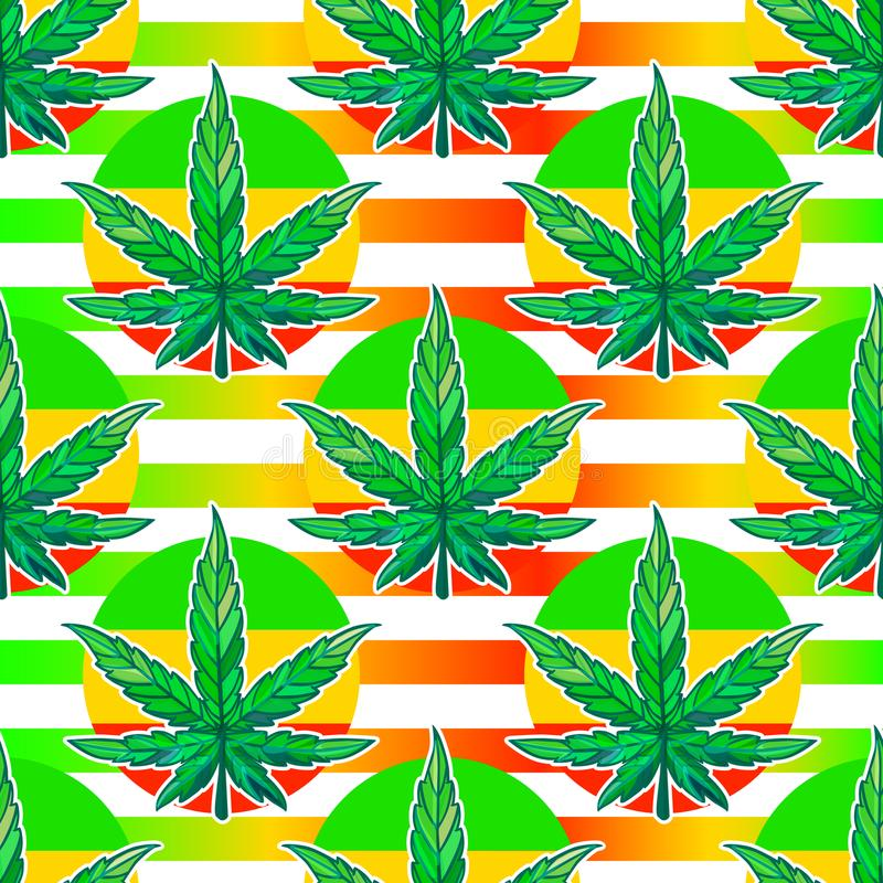 Vector Seamless pattern sheet of cannabis with bright stripes. vector illustration