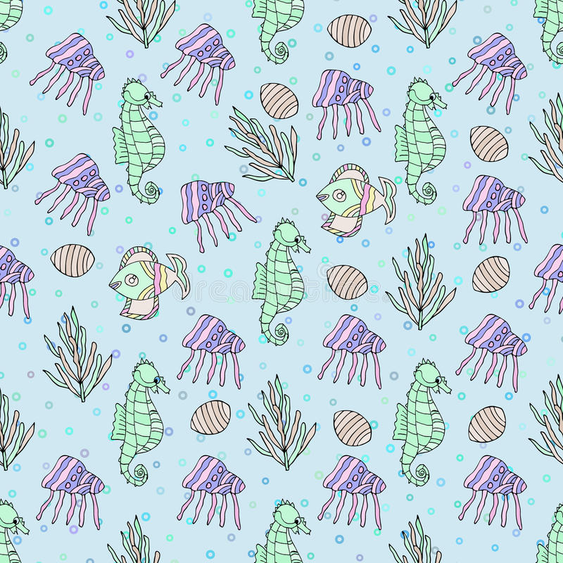Seamless pattern with shell, coral, jellyfish, bubble royalty free illustration