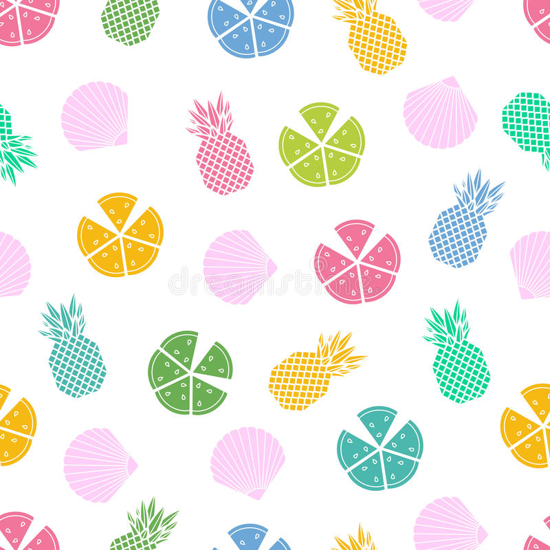 Seamless pattern with shell pineapple and watermelon royalty free illustration