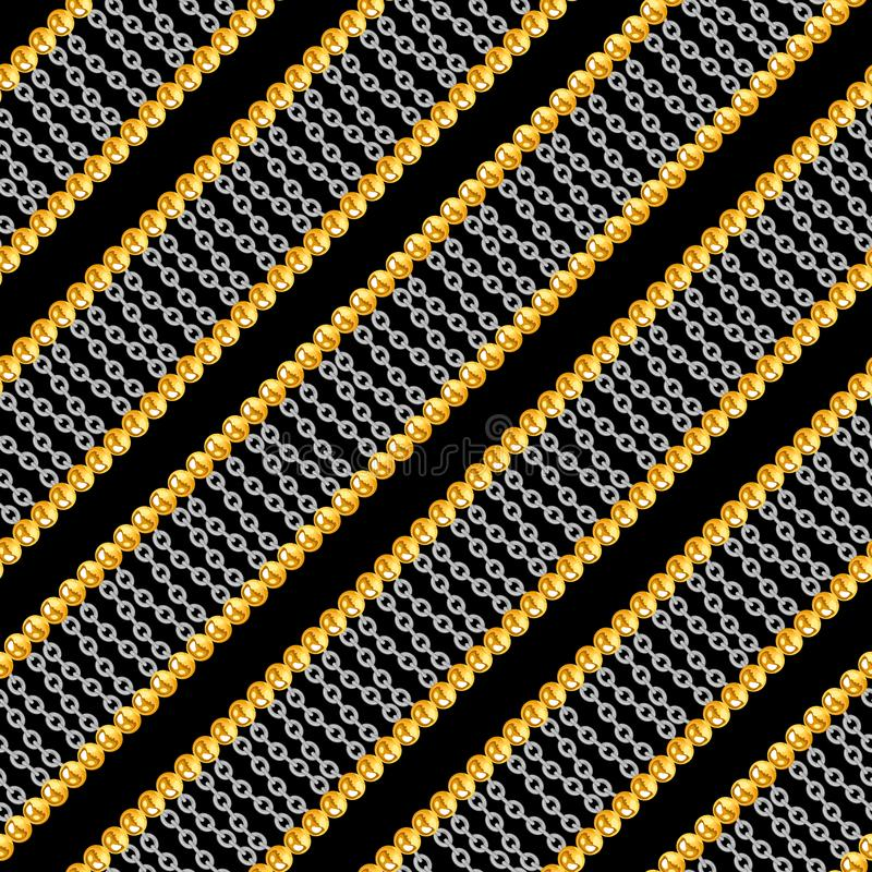 Seamless pattern with shiny gold and silver chains isolated on black background for fabric. vector illustration
