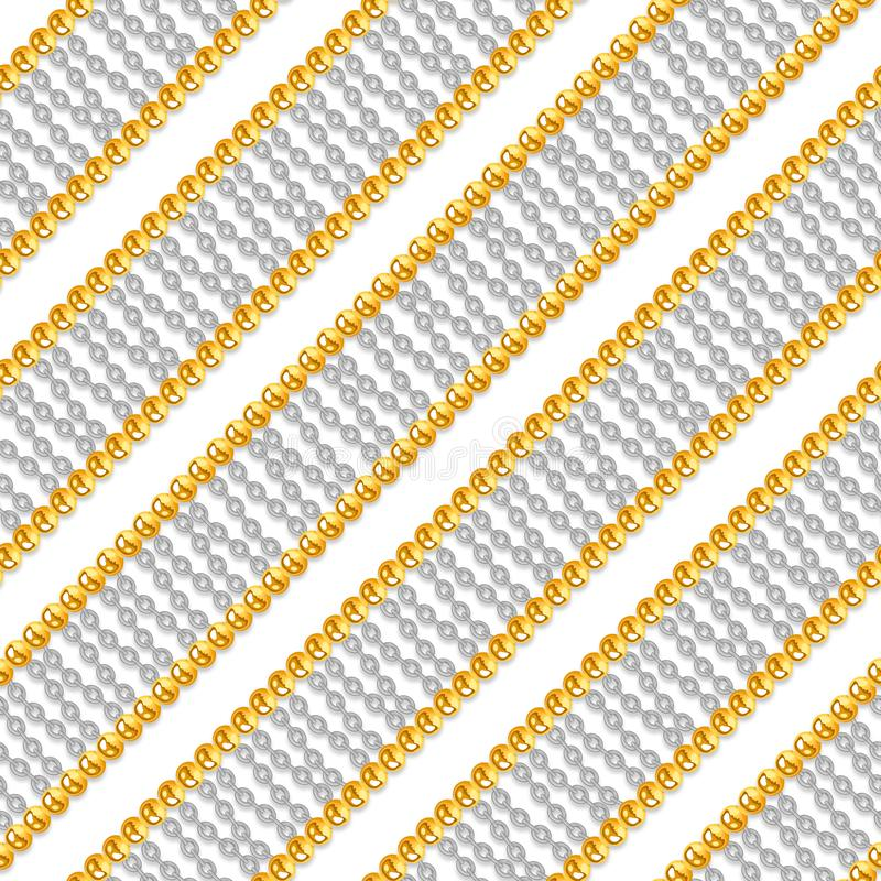 Seamless pattern with shiny gold and silver chains isolated on white background for fabric. stock photo